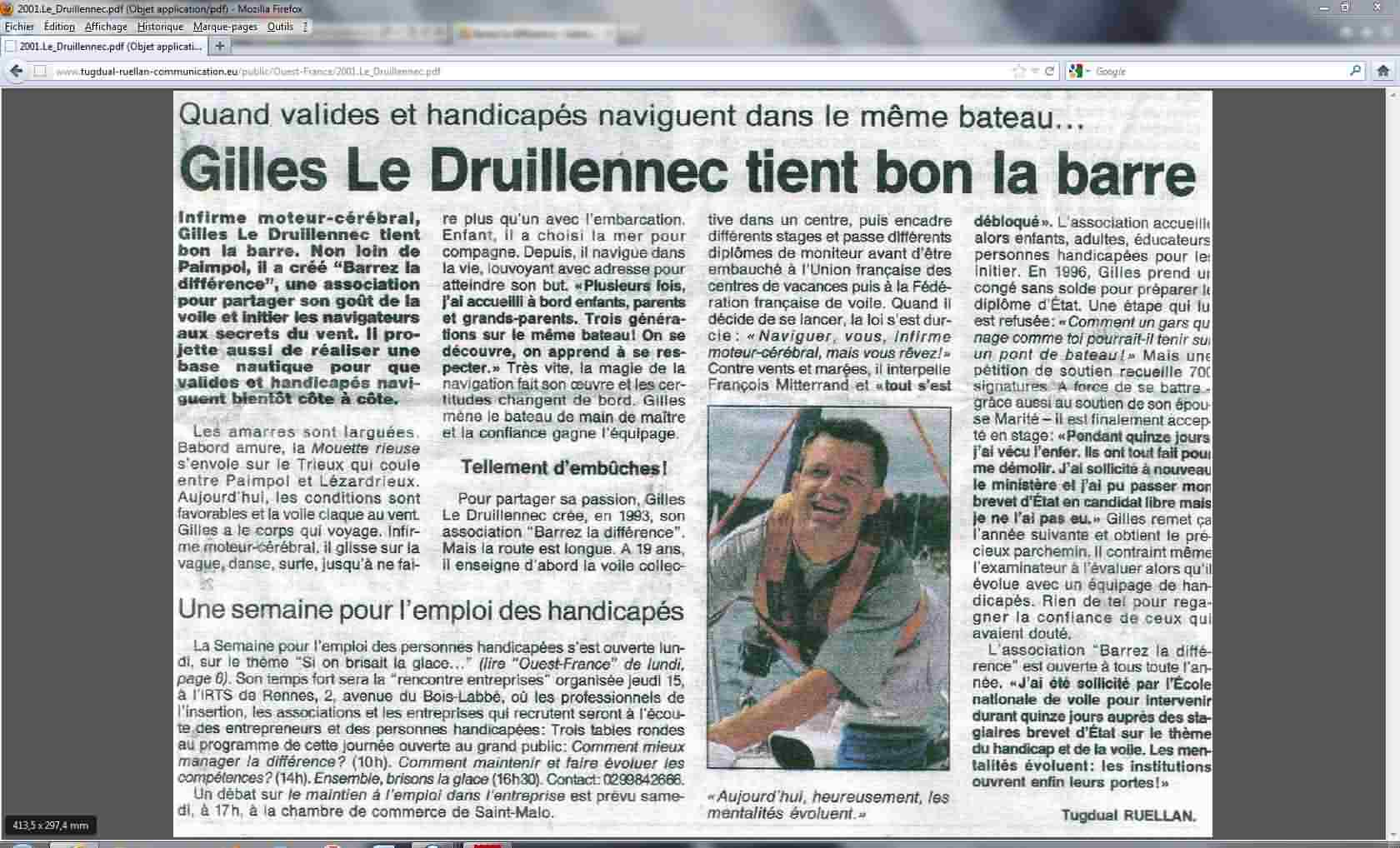 Capture Ouest France article 2001
